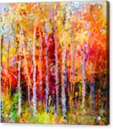 Oil Painting Landscape, Colorful Autumn Acrylic Print