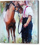 Oil Painting Of Little Girl Petting Her Acrylic Print