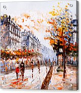 Oil Painting - Street View Of Paris Acrylic Print