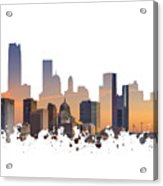 Okc Skyline Sunset Silhouette Acrylic Print