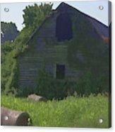 Old Barn And Hay Bales 2 Acrylic Print