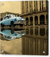 Old Blue Car In Havana Acrylic Print