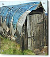old boat hut at Lindisfarne island Acrylic Print