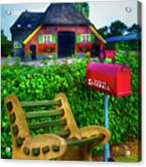 Old Dutch Cottage Painting Acrylic Print