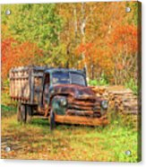 Old Farm Truck Fall Foliage Vermont Square Acrylic Print