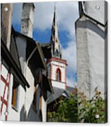old historic church spire and houses in Ediger Germany Acrylic Print