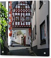 old historic street and woodframed house in Ediger Germany Acrylic Print