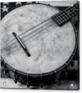 Old Mandolin Banjo In Black And White Acrylic Print