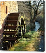 old mill wheel and stream at Preston Mill, East Linton Acrylic Print