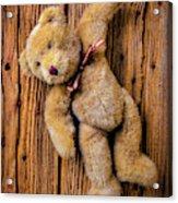 Old Teddy Bear Hanging On The Door Acrylic Print