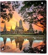 Old Temple Wat Chaiwatthanaram Acrylic Print