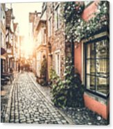 Old Town In Europe At Sunset With Retro Acrylic Print
