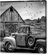 Old Truck At The Barn Bordered Black And White Acrylic Print