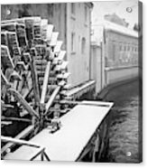 Old Water Wheel Certovka Canal Prague Black And White Acrylic Print