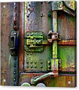 Old Weathered Railroad Boxcar Door Acrylic Print