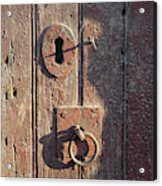 Old Wooden Door And Keyhole Acrylic Print