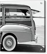 Old Woodie Station Wagon With Surfboard Acrylic Print