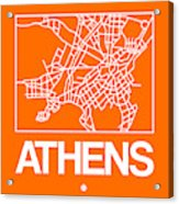 Orange Map Of Athens Acrylic Print