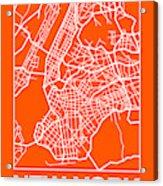 Orange Map Of New York Acrylic Print