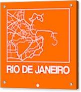 Orange Map Of Rio De Janeiro Acrylic Print