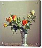 Orange Roses In Vintage Vase Acrylic Print