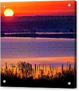 Orange Sunrise On Benbrook Lake Acrylic Print