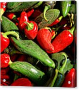 Organic Red And Green Peppers Acrylic Print