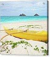 Outrigger Canoe Lanikai Beach Acrylic Print