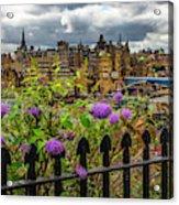 Overlooking The Train Station In Edinburgh Acrylic Print