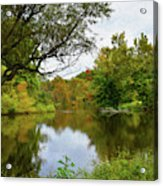 Painted Fall On The Back Pond Acrylic Print