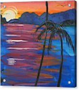 Palm Trees And Water Acrylic Print