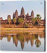 Panorama Of Angkor Wat Cambodia Ruins Acrylic Print