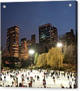 Panorama Of People Ice Skating In Acrylic Print