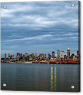 Panorama Of Seattle Skyline At Night With Storm Clouds Acrylic Print
