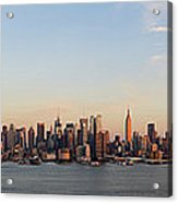 Panoramic View Of Manhattan At Sunset Acrylic Print