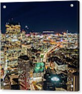 Panoramic View Of The Boston Night Life Acrylic Print