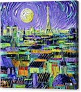 Paris Purple Night - Textural Impressionist Stylized Cityscape Mona Edulesco Acrylic Print