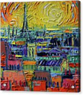 Paris Rooftops View From Centre Pompidou - Textural Impressionist Stylized Cityscape Mona Edulesco Acrylic Print