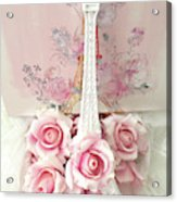 Paris Shabby Chic Pink White Roses Eiffel Tower Baby Girl Nursery Decor - Paris Pink Roses Acrylic Print