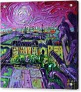 Paris View With Gargoyles Diptych Oil Painting Right Panel Acrylic Print