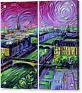 Paris View With Gargoyles - Textural Impressionist Diptych Oil Painting Mona Edulesco   Acrylic Print