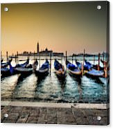 Parked Gondolas, Early Morning In Venice, Italy.  Acrylic Print