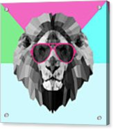 Party Lion In Red Glasses Acrylic Print