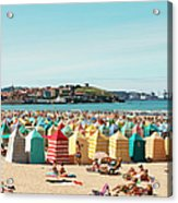 People Relaxing On Gijón Beach Acrylic Print