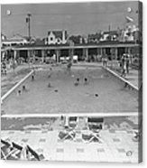 People Swimming In Pool, B&w, Elevated Acrylic Print