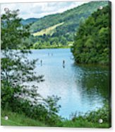 People Use Stand-up Paddleboards On Lake Habeeb At Rocky Gap Sta Acrylic Print