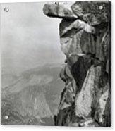 Photographer Standing On Mountain Ledge Acrylic Print