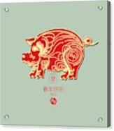 Pig 2019 Happy Chinese New Year Of The Pig Characters Mean Vector De Acrylic Print