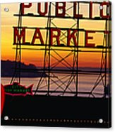 Pike Place Market Sign, Seattle Acrylic Print