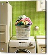 Pile Of Laundry On Washing Machine Acrylic Print
